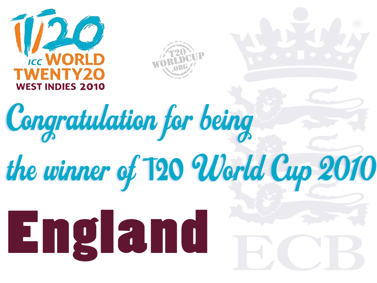 ICC Twenty20 World Cup 2010 Winner England
